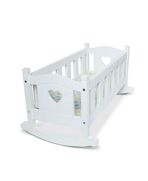 "Melissa and Doug Melissa Doug Mine to Love Wooden Play Cradle for Dolls, Stuffed Animals - White 2 Beds, 10.2""H x 18.8""W x 20.7""L Assembled"
