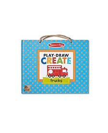 Melissa Doug Natural Play: Play, Draw, Create Reusable Drawing Magnet Kit – Trucks 45 Magnets, 5 Dry-Erase Markers