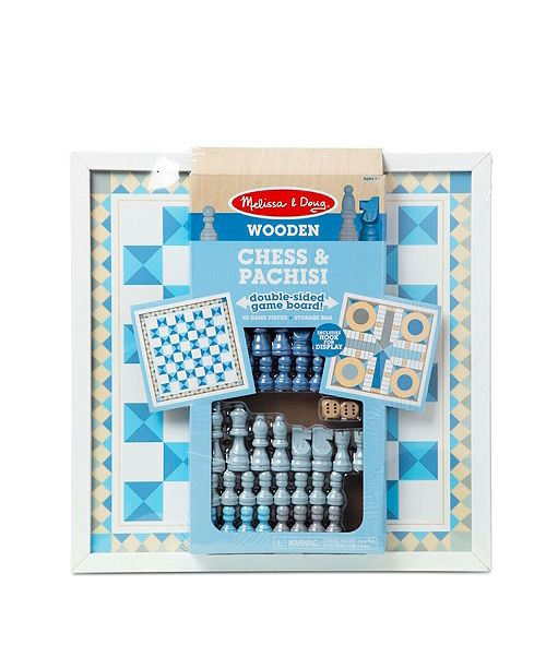 """Melissa and Doug Melissa Doug Double-Sided Wooden Chess Pachisi Board Game Blue with 42 Game Pieces 17.5"""" W x 17.5"""" L x 1.5"""" D"""