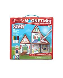 Melissa Doug 15-Piece MAGNETIVITY Magnetic Building Play Set – Draw Build Castle 8 Panels, 4 Dry-Erase Markers