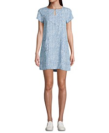 Petite Printed Short-Sleeve Shift Dress