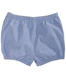 Baby Girls Ruffle-Back Chambray Cotton Shorts, Created for Macy's