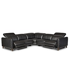 Jaconna 5-Pc. Leather Sectional with 2 Power Recliners, Created for Macy's