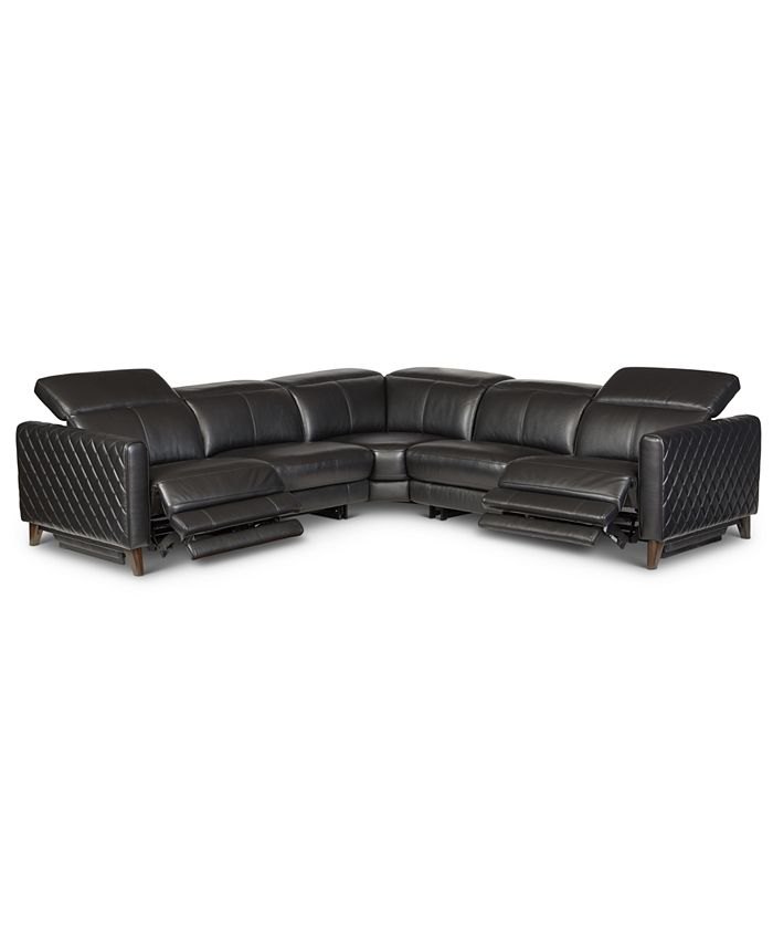 Furniture - Jaconna 5-Pc. Leather Sectional with 2 Power Recliners