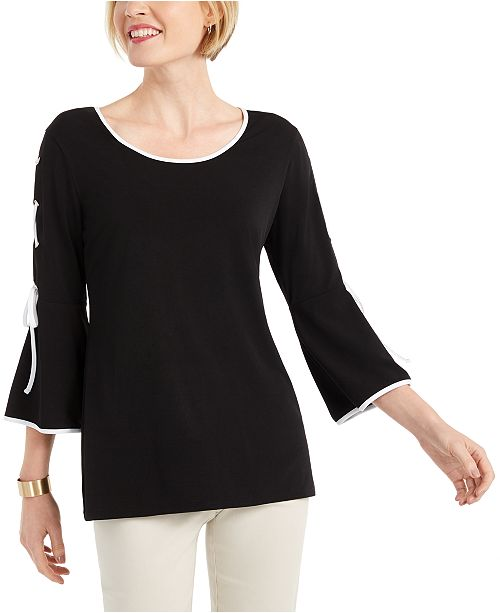 JM Collection Petite Lace-Up Bell-Sleeve Top, Created for Macy's