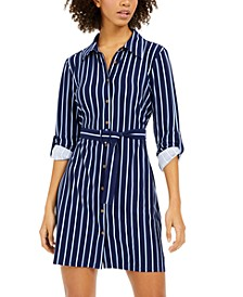 Juniors' Striped Shirtdress