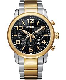 Men's Quartz Chronograph Two-Tone Stainless Steel Bracelet Watch 42mm