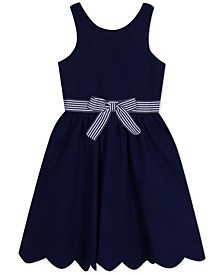Big Girls Striped-Bow Seersucker Dress