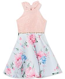 Big Girls Lace & Floral Mikado Dress