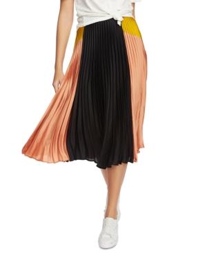 Image of 1.state Colorblocked Pleated Midi Skirt