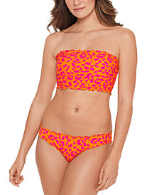 Salt + Cove Juniors' Cherry On Top Printed Smocked Bandeau Bikini Top, Available in D/DD, & Ruffled Bottoms, Created for Macy's
