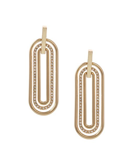 Christian Siriano New York Gold Tone Elongated Oval Linear Earrings