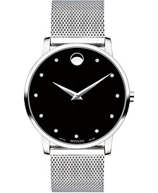 Men's Swiss Museum Classic Diamond (1/20 ct. t.w.) Stainless Steel Mesh Bracelet Watch 40mm