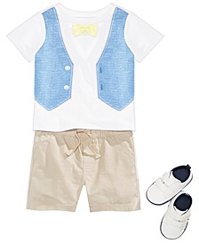 Baby Boys Faux Vest T-Shirt, Shorts & Shoes Separates, Created for Macy's