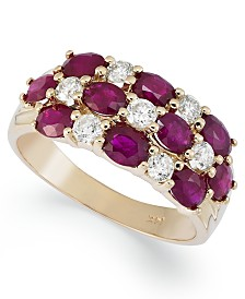 14k Gold Ring, Ruby (2-1/2 ct. t.w.) and Diamond (1/2 ct. t.w.) 3 Row Band