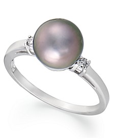 14k White Gold Ring, Tahitian Pearl (8mm) and Diamond Accent Ring