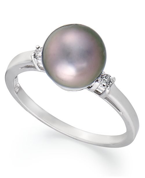 Macy's 14k White Gold Ring, Tahitian Pearl (8mm) and Diamond Accent Ring