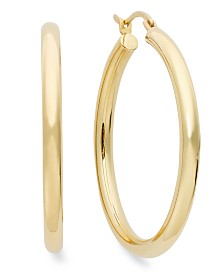 Signature Gold™ Diamond Accent Hoop Earrings in 14k Gold or White Gold over Resin, Created for Macy's