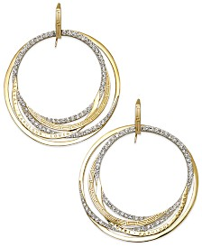 Simone I. Smith Forever Shaunie 18k Gold over Sterling Silver Earrings, Crystal Eternity Hoop Earrings (1.3-1.8mm)