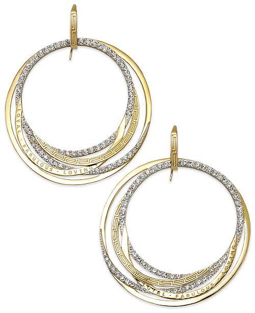 Simone I. Smith Forever Shaunie 18k Gold over Sterling Silver Earrings, Crystal Eternity Hoop Earrings (1.3-1.8mm)