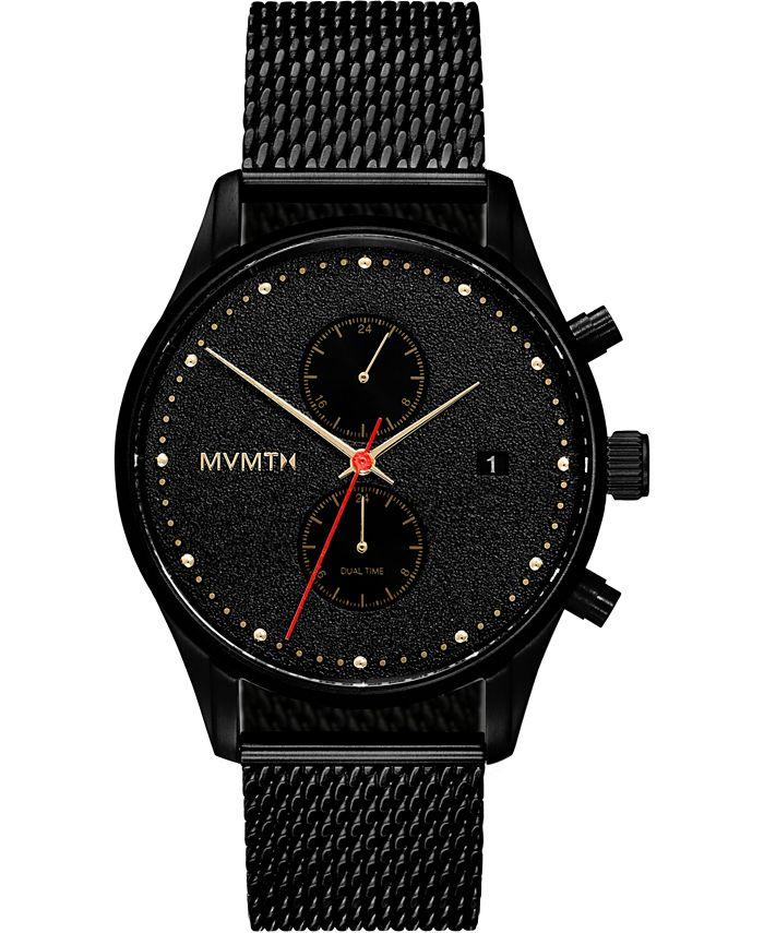 MVMT - Men's Chronograph Caviar Black Stainless Steel Mesh Bracelet Watch 42mm