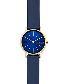 Women's Signatur Blue Leather Strap Watch 30mm