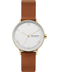 Women's Nillson Brown Leather Strap Watch 34mm