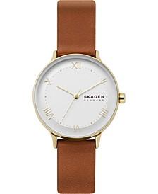 Women's Nillson Brown Leather Strap Watch 34mm