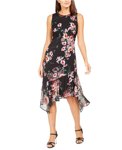 Calvin Klein Printed Chiffon Midi Dress