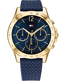 Women's Chronograph Navy Silicone Strap Watch 38mm, Created for Macy's