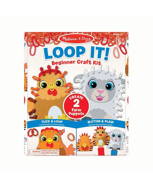 Melissa and Doug Melissa Doug Loop It Farm Puppets Beginner Craft Kit – Chicken and Sheep Felt Hand Puppets, 40 Loops