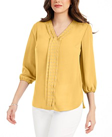 Petite Studded Pleat-Front Blouse, Created For Macy's
