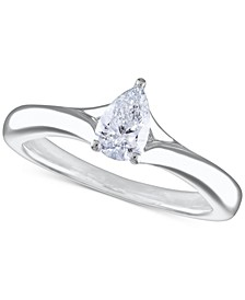 Certified Diamond Pear Solitaire Engagement Ring (1/2 ct. t.w.) in 14k White Gold