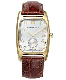 Hamilton Men's Swiss Boulton Brown Leather Strap Watch 27mm H13431553