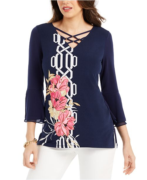JM Collection Printed Bell-Sleeve Gold-Tone-Embellished Tunic Top, Created For Macy's