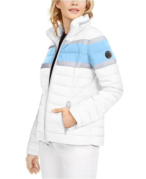 Nautica Hooded Colorblocked Water-Resistant Hooded Packable Jacket