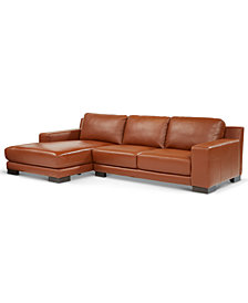 Darrium 2-Pc. Leather Sofa with Chaise, Created for Macy's