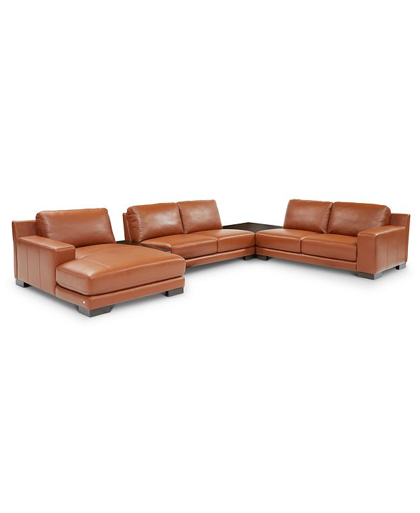 Furniture Darrium 5-Pc. Leather Chaise Sectional with Corner Table & Console, Created for Macy's