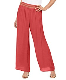 Metallic-Detail Wide-Leg Gauze Pants, Created for Macy's
