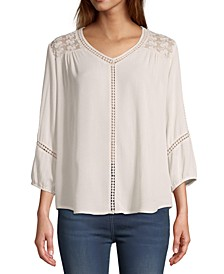 Petite Lace-Trim 3/4-Sleeve Top