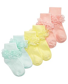 Baby Girls 3-Pk. Lace Anklet Socks, Created For Macy's