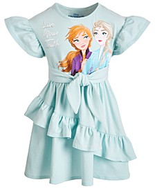 Little Girls Elsa & Anna Live Your Truth Ruffled Dress