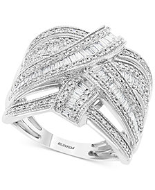 EFFY® Diamond Baguette Crossover Statement Ring (7/8 ct. t.w.) in 14k White Gold