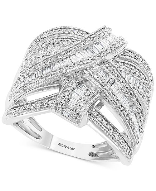 EFFY Collection EFFY® Diamond Baguette Crossover Statement Ring (7/8 ct. t.w.) in 14k White Gold