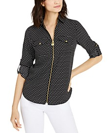 Mini Mod Dot Front-Zip Top, Regular & Petite