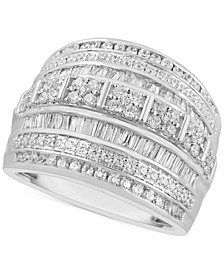 Diamond Wide Band Multi-Row Statement Ring (2 ct. t.w.) in Sterling Silver