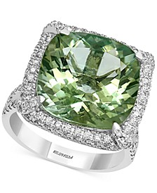 EFFY® Green Amethyst (9-7/8 ct. t.w.) & Diamond (1 ct. t.w.) Statement Ring in 14k White Gold