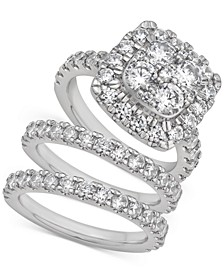 Certified Diamond Halo 3-Pc. Bridal Set (4 ct. t.w.) in 14k White Gold