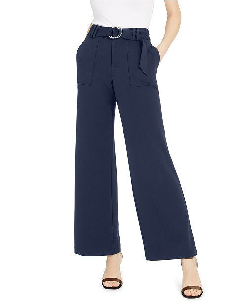 INC International Concepts INC Petite Belted Wide-Leg Pants, Created for Macy's
