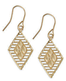 10k Two-Tone Gold Earrings, Diamond Cut Earrings